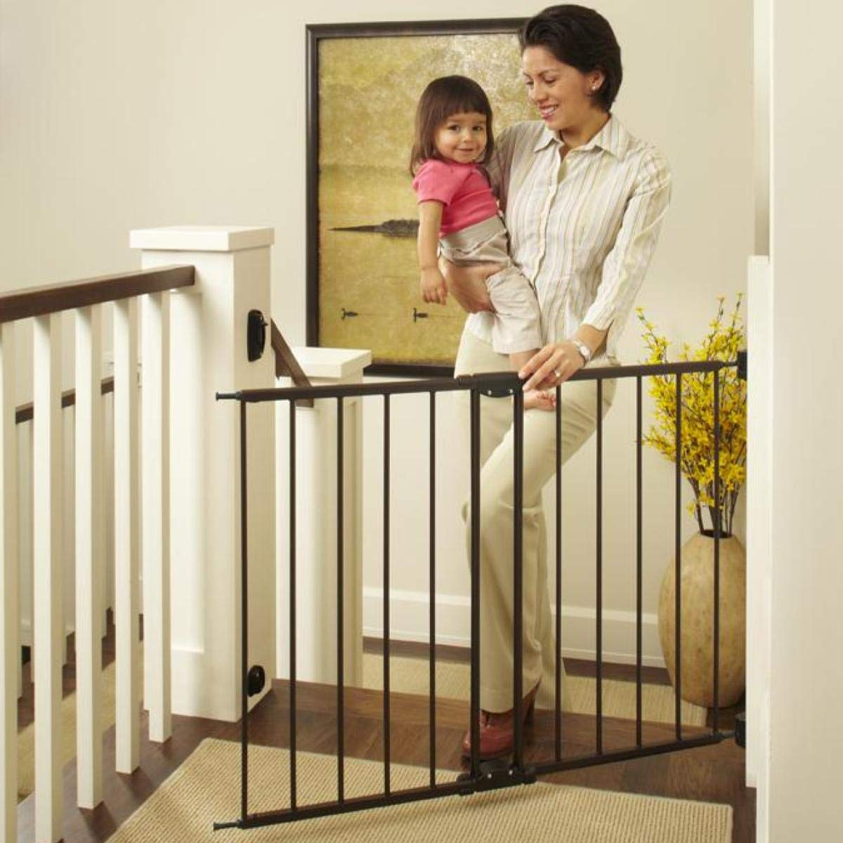 North States 47.85'' Easy Swing & Lock Baby Gate: Ideal for Standard or Wider stairways, Swings to self-Lock. Hardware Mount (mounts Included). Fits 28.68''-47.85'' Wide (31'' Tall, Bronze) by North States
