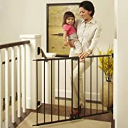 North States 47.85  Easy Swing & Lock Baby Gate: Ideal for Standard or Wider stairways, Swings to self-Lock. Hardware Mount (mounts Included). Fits 28.68 -47.85  Wide (31  Tall, Bronze)
