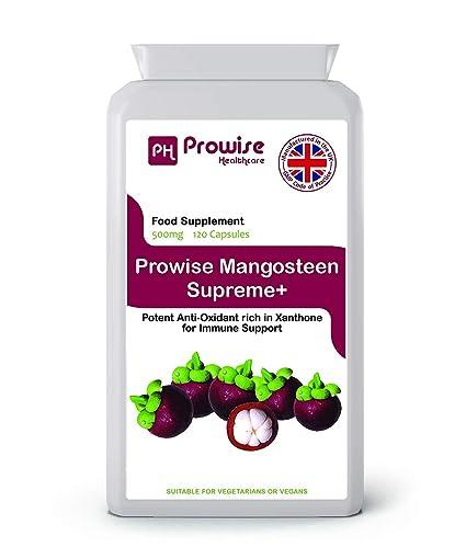 Prowise Pure Mangosteen 500mg 120 capsulas - Superfood Suplemento antioxidante para la salud para apoyar el sistema ...