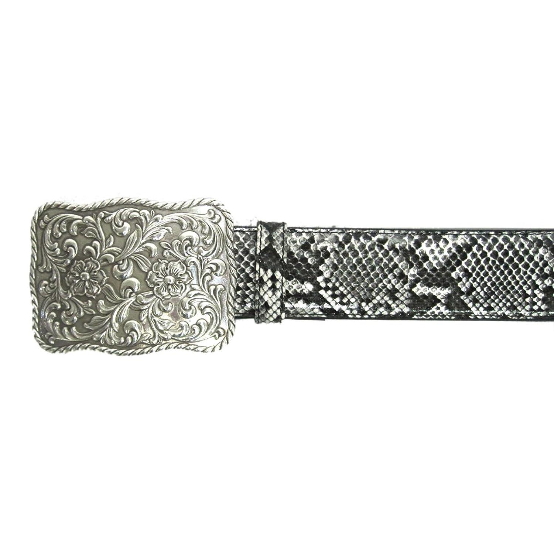"1 1/2"" Women's Antique Floral Engraved Silver Buckle on Quality Snake Skin Belt"
