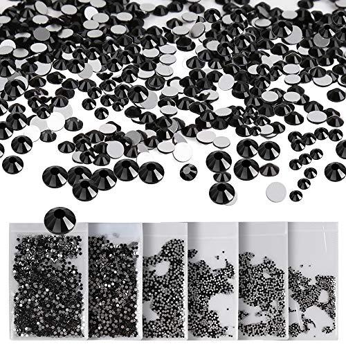 8640 Pcs Black Nail Crystal Rhinestones, Teenitor 6 Sizes Swarovski Element Flatback Rhinestone Round Gems Stones Decorations Sparkling Charms Diamonds Beads For Nail Art Jewelry Craft Card Dress ()