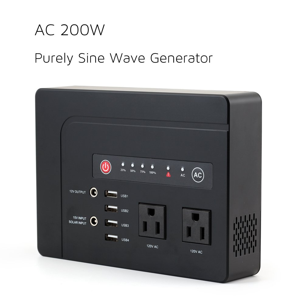 WEIYI 200-Watt Purely Sine Wave Portable Generator Power Station Power Inverter With Outputs AC 110V 4USB ,2DC-12V/10A, Built-in Li-on Battery 42000mah