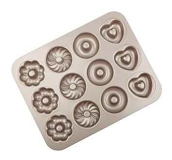 KAOP Molde de Donuts de Metal Hogar Molde de Pan Hueco Redondo Antiadherente Pan Horneado - 12 Tazas: Amazon.es: Hogar