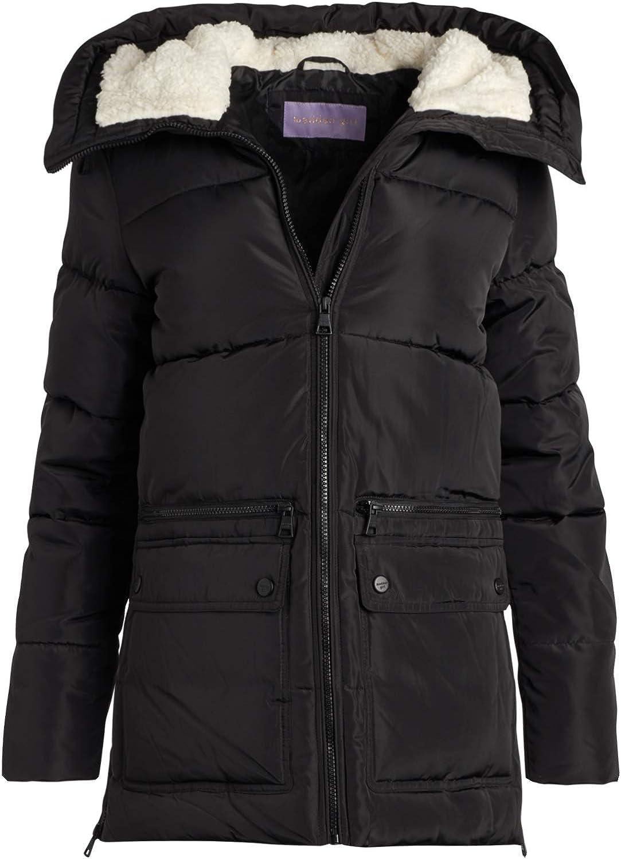 Madden Girl Women's Outerwear - Heavyweight Bubble Puffer Jacket with Oversized Sherpa Fur Lined Hood
