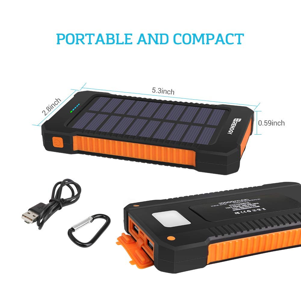Renogy Solar Power Bank 15000mAh Charger Portable Outdoor Water Resistant Dual USB Solar Panel Battery Backup with Led Light for iPhone iPad GoPro Camera