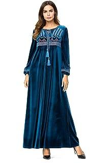 bb2651d31a6 Bmeigo Kaftan Musulman Maxi Robe - Femmes Abaya Jilbab Dubai Velvet Manches  Longues Baggy Grande Taille