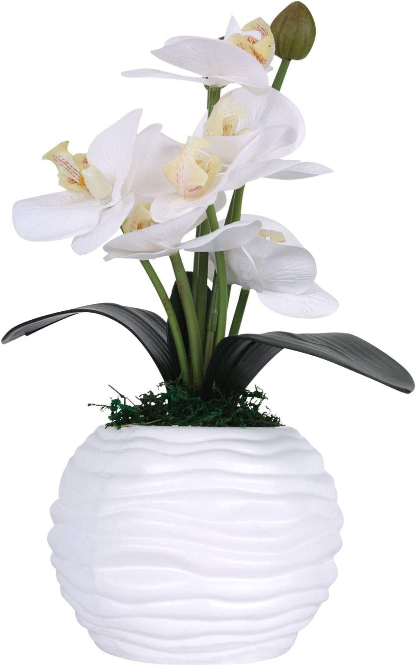 LIVILAN Artificial Flower Arrangements with Vase, Fake Flowers Indoor and Outdoor,Art Flower for Decoration, Wedding, Home, Office,Party, White