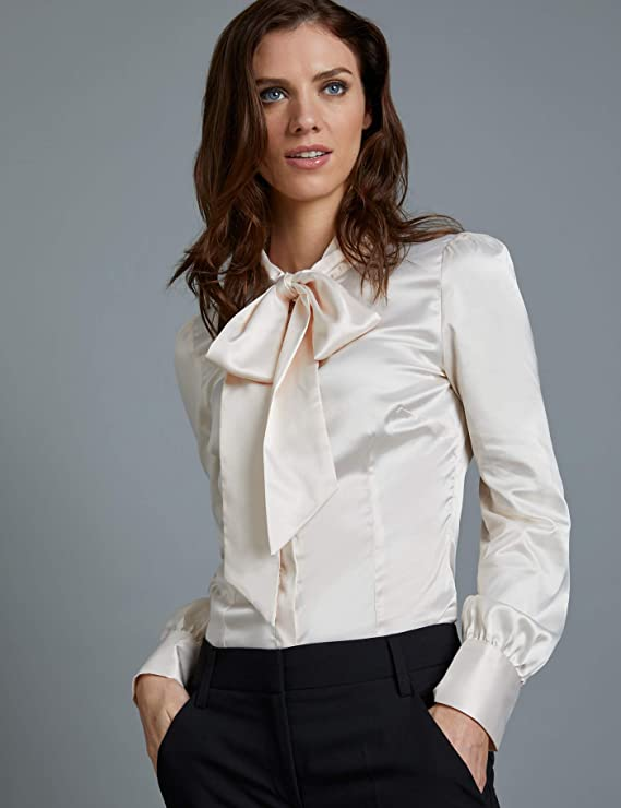e5276236b658b HAWES   CURTIS Women s Stylish Fitted Pussy Bow Cream Satin Blouse   Amazon.co.uk  Clothing