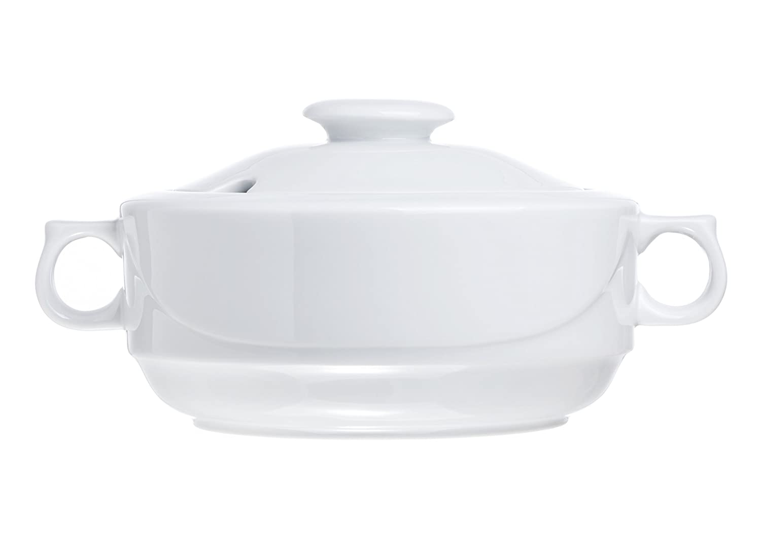 Soup Tureen with Lid, 2.8 Quart Family Size (for 6), White Porcelain, Restaurant&Hotel Quality BF BAF10219