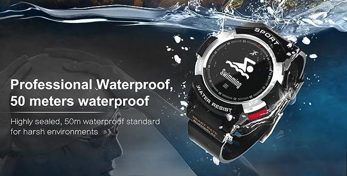 luckyruby No.1 F6 GPS Smartwatch NRF51822 Chip IP68 Impermeable Monitor de sueño Remoto cámara rastreador de Salud para Android iOS, Negro