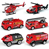jeep fire truck - Tianmei 6 Cars in 1 Set Fire Rescue styling 1:87 Alloy Diecast Vehicle Models Collection Kids Toy, Fire Truck Helicopter Jeep Ambulance Car (6pieces - Fire Fighting)