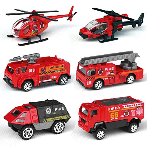Tianmei 6 Cars in 1 Set Fire Rescue styling 1:87 Alloy Diecast Vehicle Models Collection Kids Toy, Fire Truck Helicopter Jeep Ambulance Car (6pieces - Fire Fighting) by Tianmei