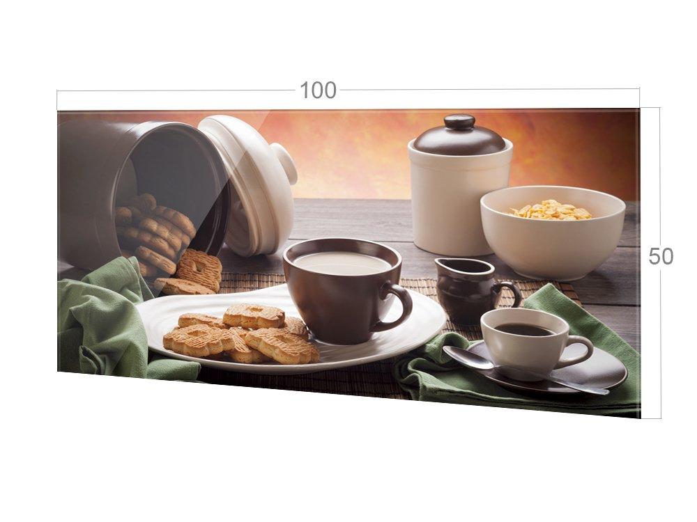 Glasbild f/ür K/üche 60x40cm Spritzschutz aus Echtglas Bild-Motiv Kaffeezeit GRAZDesign 200022/_60x40/_SP K/üchenr/ückwand f/ür Herd