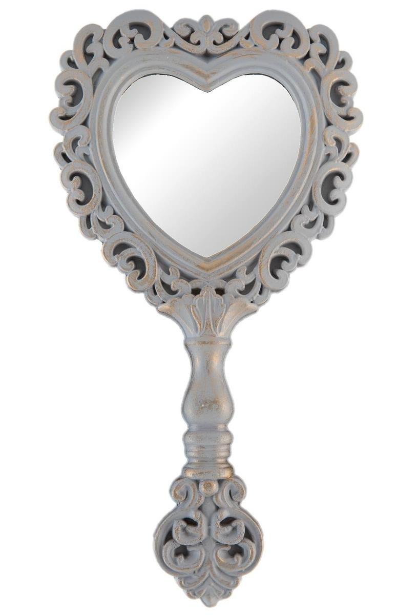 Clayre & Eef 62S084 Specchio a forma di cuore, grigio, circa 15 x 27 cm