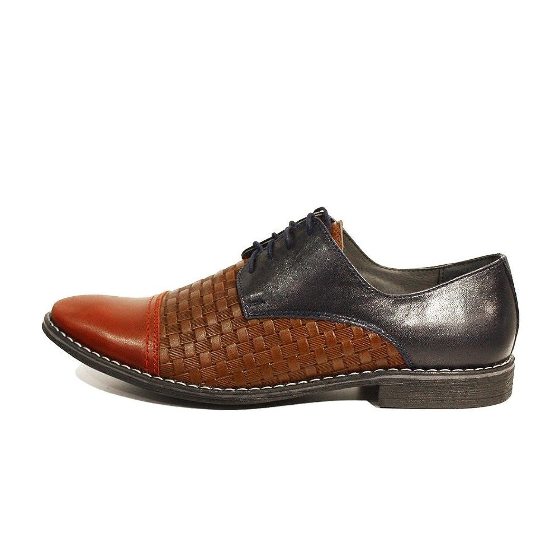 Modello Lino - 41 EU - Cuero Italiano Hecho A Mano Hombre Piel Vistoso Zapatos Vestir Oxfords - Cuero Cuero Repujado - Encaje pNobAodD