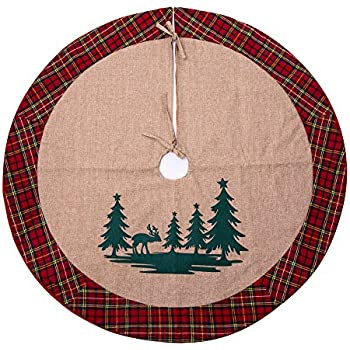 SANNO 42 Christmas Tree Skirt With Reindeer In The Woodland Collection Decorations Tartan Border