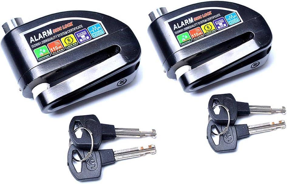 APXZC Bloqueo de Disco de Alarma antirrobo Compacto portátil de 2 Piezas, 6 mm de diámetro, 110 decibelios, Cilindro de Bloqueo Super B cifrado, para la mayoría de los Coches eléctricos de Bicicletas