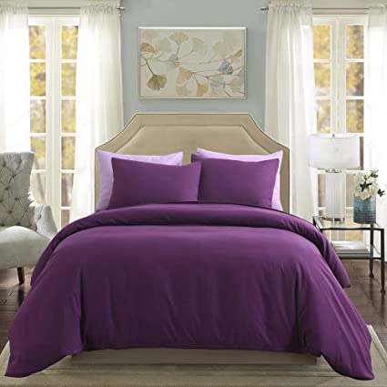 Dark Purple Bedding Sets.3 Pieces Dark Purple Duvet Cover Set Solid Color Microfiber Bedding Sets King 104 X90 One Purple Duvet Cover Two Pillowcases King Dark Purple