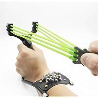 Adjustable Hunting Slingshot High Velocity Catapult Slingshots Most Powerful Profesional Outdoor Slingshots Rubber Bands (Black)