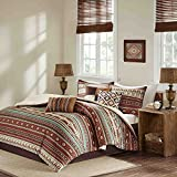 7pc Red Brown Blue White Southwest Comforter King Set, Horizontal Tribal Stripes Geometric Motifs Lodge, Native American Southwestern Bedding, Vibrant Western Colors, Indian Themed Pattern