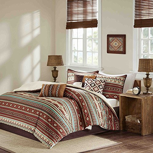 UNK 7pc Red Brown Blue White Southwest Comforter King Set, Horizontal Tribal Stripes Geometric Motifs Lodge, Native American Southwestern Bedding, Vibrant Western Colors, Indian Themed Pattern -