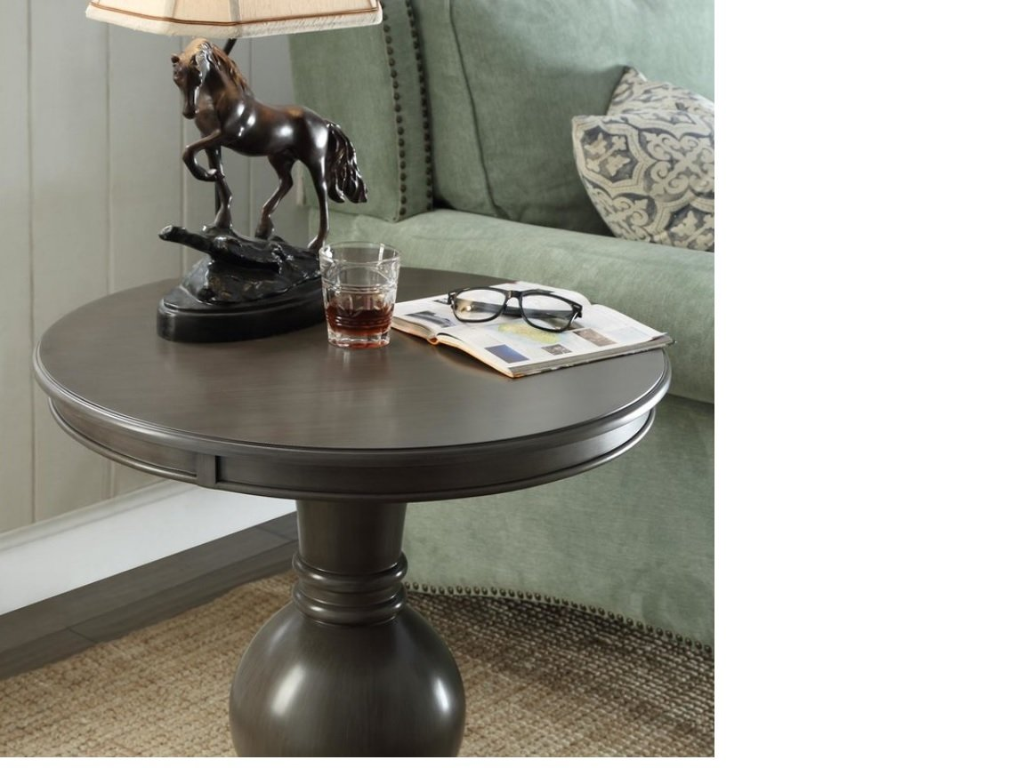 product table detail kathy round industrial home kuo loft colt side pedestal rustic aluminum