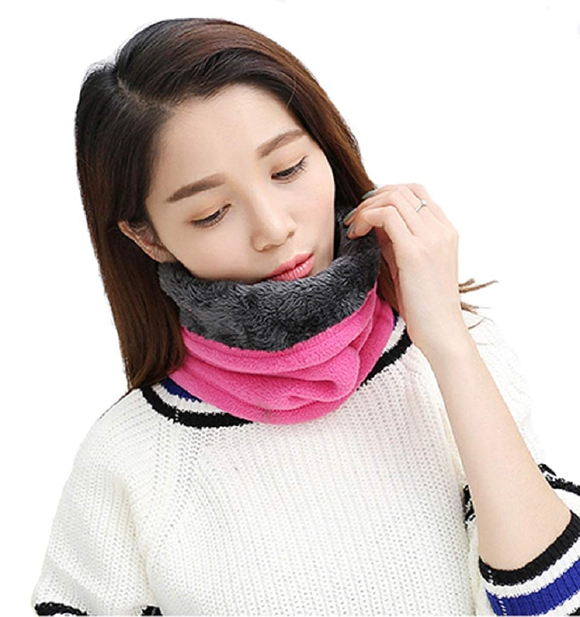 heekpek Fleece Neck Warmer Windproof Snood or Hat Thick for Men Women Multifunctional Neck Scarf or Hat for Ski Cycling Sports
