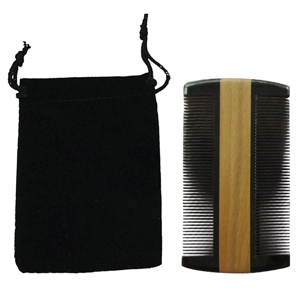 Elisona-Dual Sides Coarse and Fine Tooth Green Sandalwood Wooden Pocket Anti-static Hair Beard and Mustache Comb