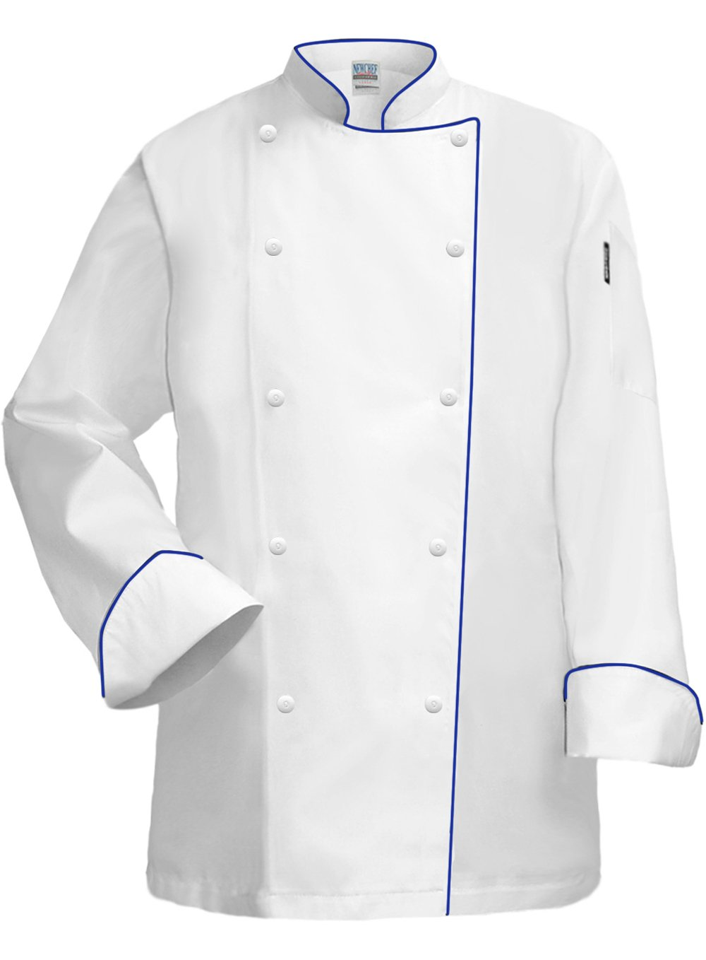 Newchef Fashion White Lady Chef Coat with Royal Blue Trim 3XL White by Newchef Fashion