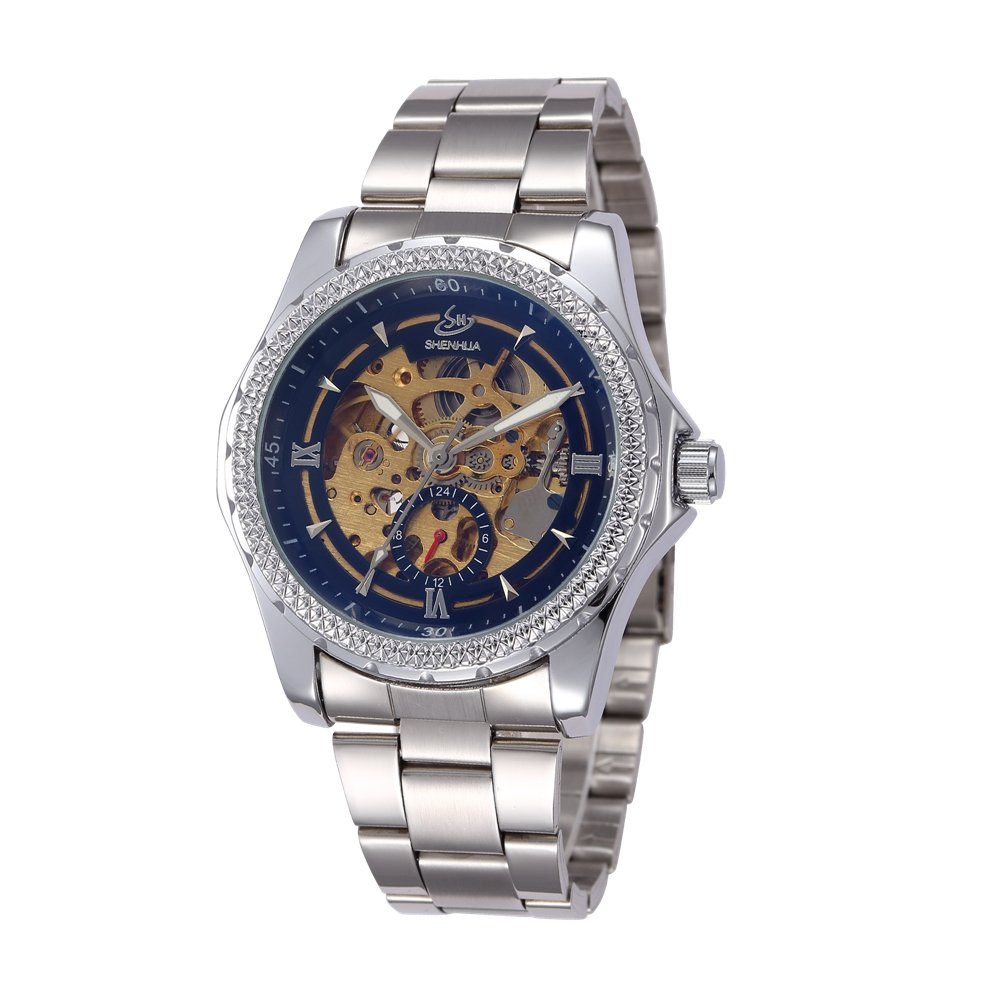 SHENHUAユニセックス自動機械腕時計レトロアンティーク真鍮スケルトン腕時計スチームパンク B06Y2TQZ1W