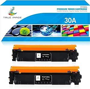 True Image Compatible Toner Cartridge Replacement for HP 30A CF230A 30X CF230X Laserjet Pro MFP M203dw M227fdw M227fdn M203d M203dn M227d M227sdn M227 M203 (Black, 2-Pack)