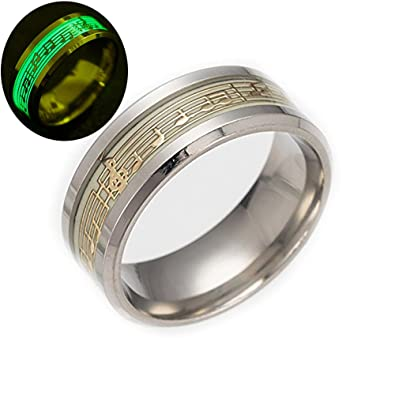 Tidoo Jewelry Piano Music Luminous Glow Ring Punk Musical Note