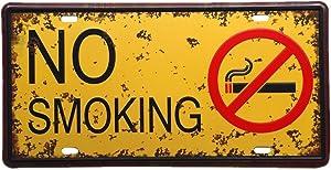 WINOMO Iron Painting Garage Vintage Decorative Signs Tin Metal Iron Car Sign Painting for Wall Home Bar Coffee Shop(NO Smoking)