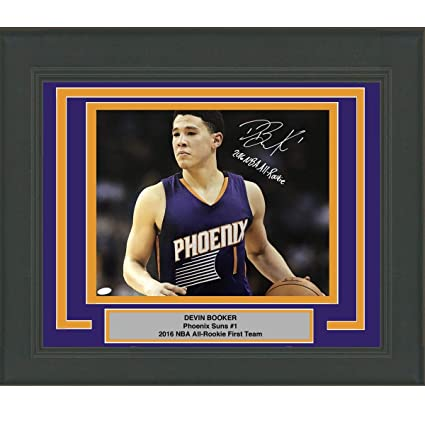 c4ea6c73eb74 Framed Autographed Signed Devin Booker 2016 NBA All-Rookie Phoenix Suns  16x20 Basketball Photo JSA COA at Amazon s Sports Collectibles Store