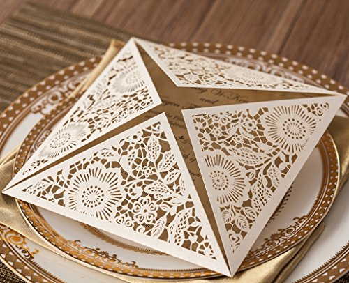 Wishmade 100X Square Laser Cut Wedding Invitations Kit With White Envelope and Envelope Seals Card Stock For Engagement Bridal Shower Birthday Baby Shower Party CW520_WH by Wishmade (Image #4)