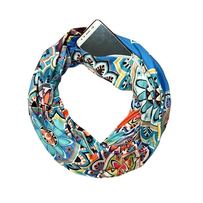 ALIKEEY Mujer Imprimir Invierno Convertible Infinity Bufanda Pocket Loop Cremallera Bolsillo S Venezuela Dodgers Adjustable Gorras Los Baseball Originales: ...