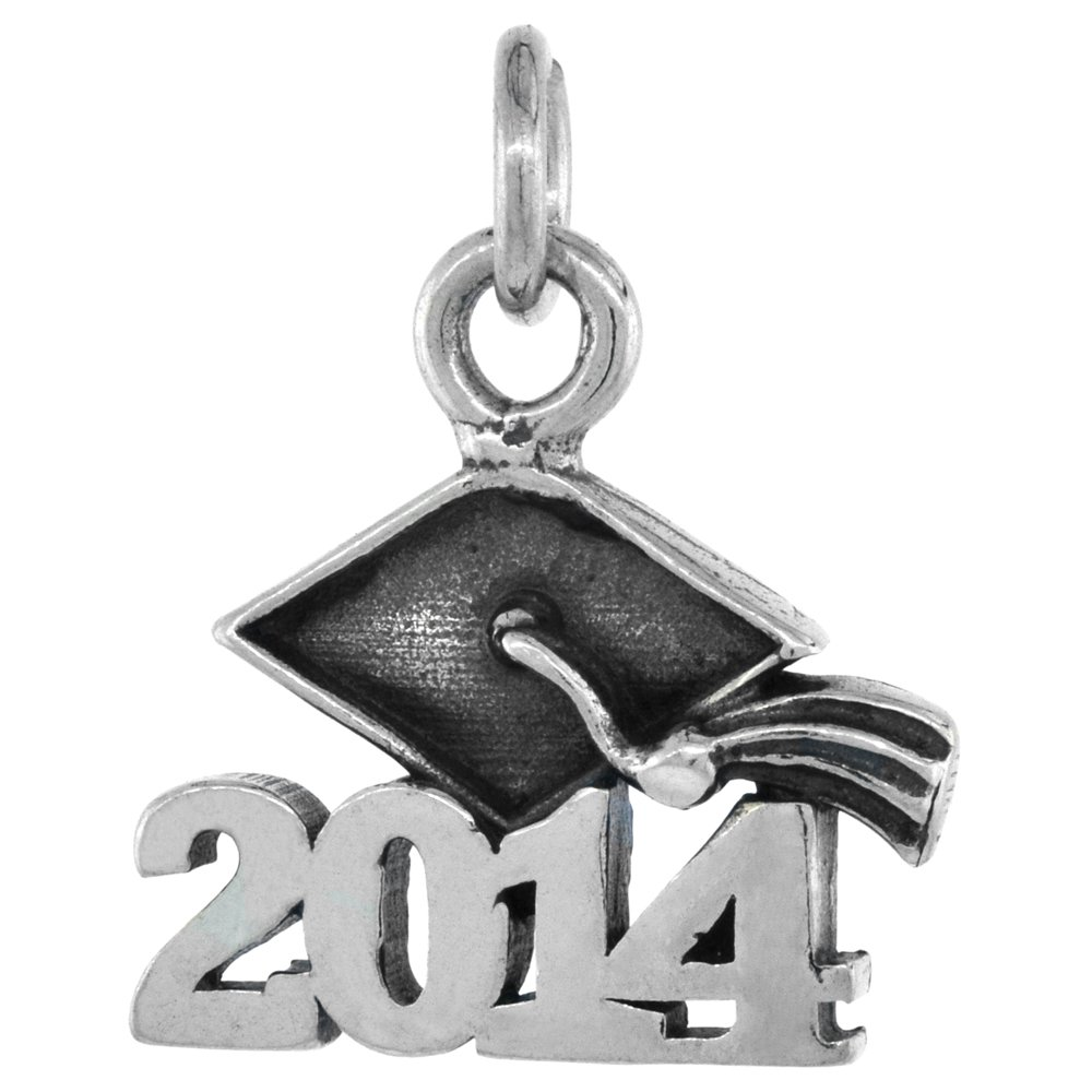 Sterling Silver 2014 Graduation Necklace Antiqued Finish 5//8 inch Long 16-30 inch 0.8mm Box Chain