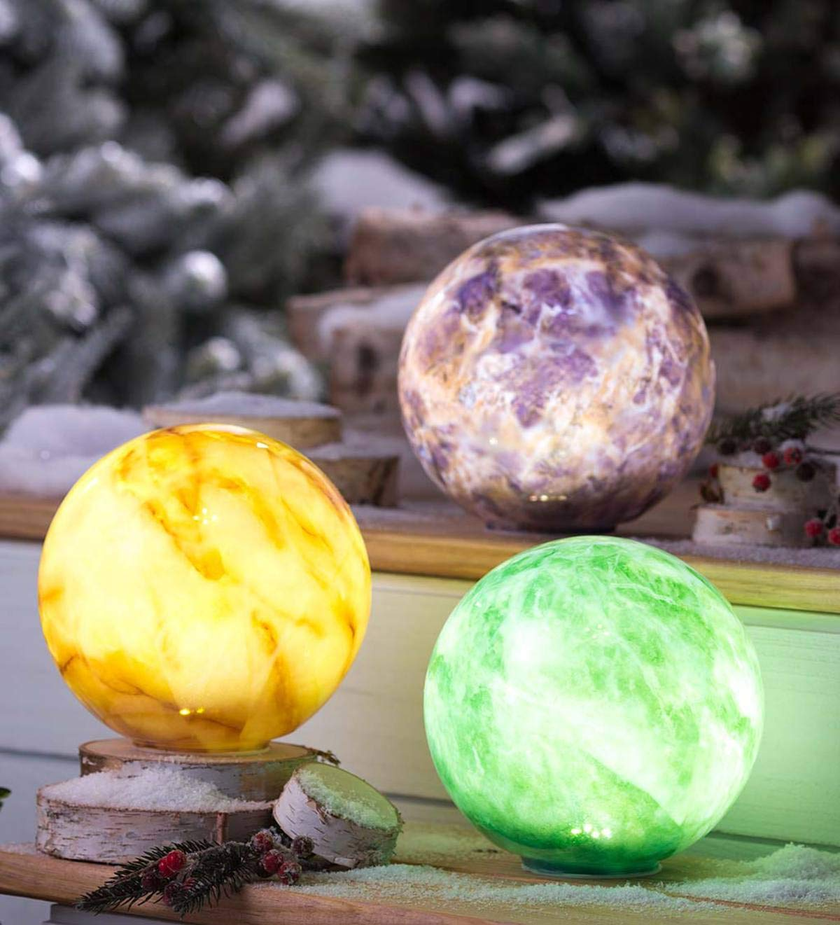Plow & Hearth Glowing Elements Glass Garden Globes, Set of 3-7.5 Dia