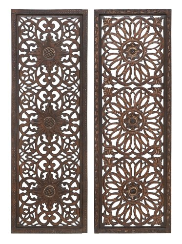 Deco 79 Set of 2 Wooden Wall Panels ()
