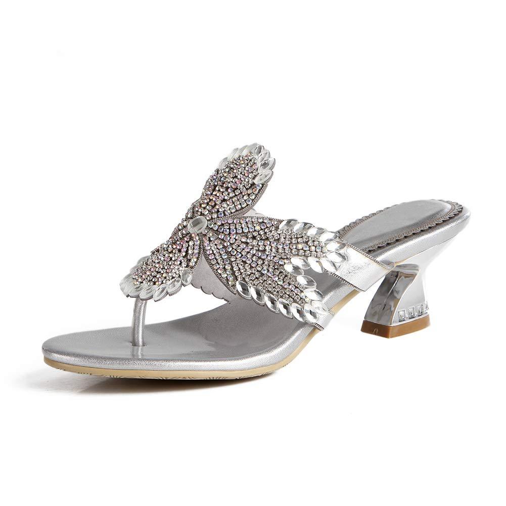 Silver Women's Shining Crystal Maple Leaf Pattern Manual Sandals Platform Evening Rhinestone High Heels Wedding Slippers