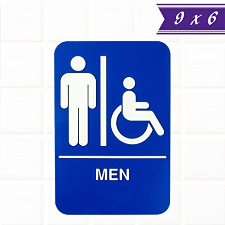 Amazoncom Mens Restroom Sign For Door Wall Blue And White - Commercial bathroom signs