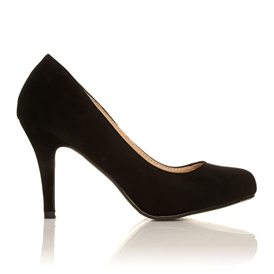 PEARL Black Faux Suede Stiletto High Heel Classic Court Shoes:  Amazon.co.uk: Shoes & Bags