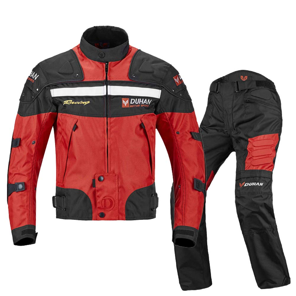 ANTLEP Motorcycle Jacket+ Pant Suit 7 Pieces Protection Device Detachable Warm Layerbreathable Wear-Resistant Adjustable for Man, Woman, Riding Motorcycles, Cross Country,Red,XXL