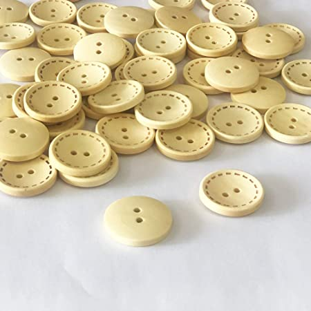 JOTOP 50 Pcs 1 inch Wooden Buttons, 25mm Premium Buttons for Sewing Craft Clothing DIY Project, Natural Wood Color 2 Holes