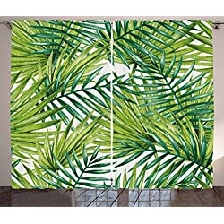 Ambesonne Plant Curtains, Watercolor Tropical Palm Leaves Colorful Illustration Natural Feelings, Living Room Bedroom Window Drapes 2 Panel Set, 108 W X 63 L Inches, Fern Green Lime Green