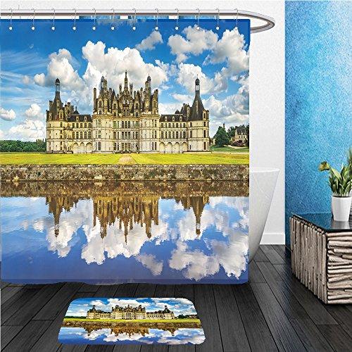 Beshowereb Bath Suit: ShowerCurtian & Doormat Chateau de Chambord, royal medieval french castle and reflection. Loire Valley, France, Europe. Unesco heritage - Macy's Site