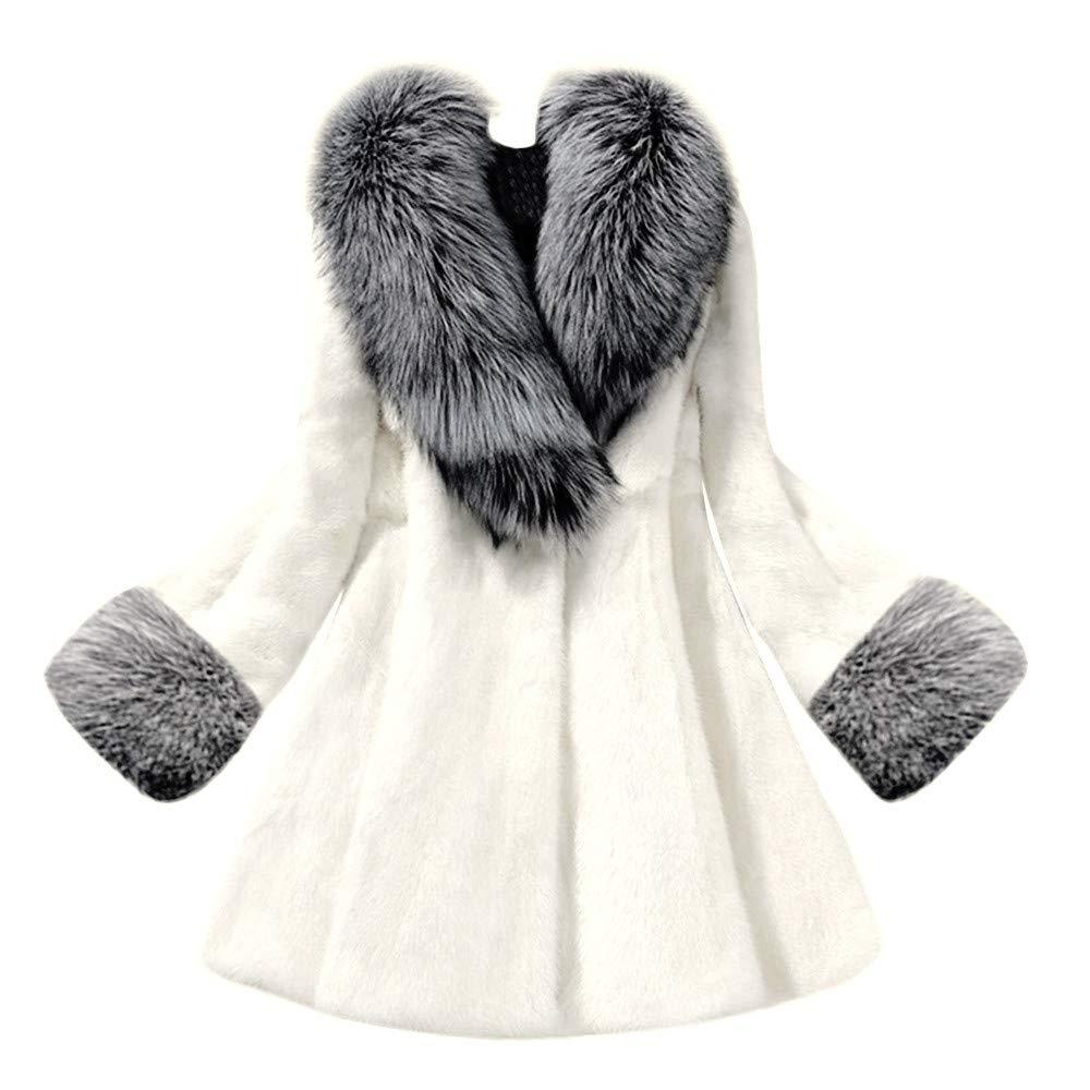 Rambling Elegant New Women Faux Fur Collar Classic Leopard Medium Long Coat Jacket by Rambling
