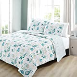 un 3 Piece Ocean Blue Pink Sea Shell Themed Quilt King Set, Ocean Bedding Coastal Hawaii Tropical Pattern Starfish Seashells Sealife Coral Clams Teal White, Reversible Stripes Cotton Polyester