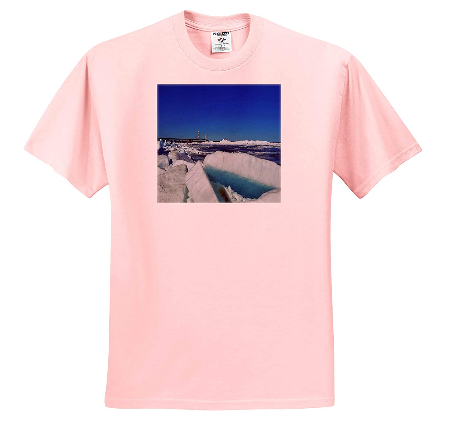 3dRose Dreamscapes by Leslie Scenery Blue ice on Lake Huron with Big Mac Backdrop ts/_314225 Adult T-Shirt XL