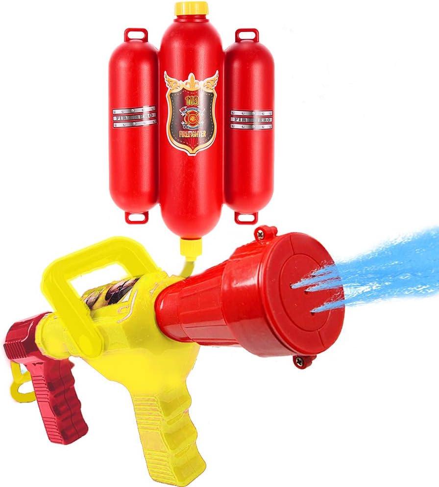 Goolsky Fireman Toys Mochila de pulverización de agua de juguete Blaster Extinguidor con boquilla y tanque Set Niños al aire libre de agua de playa juguete para niños regalos